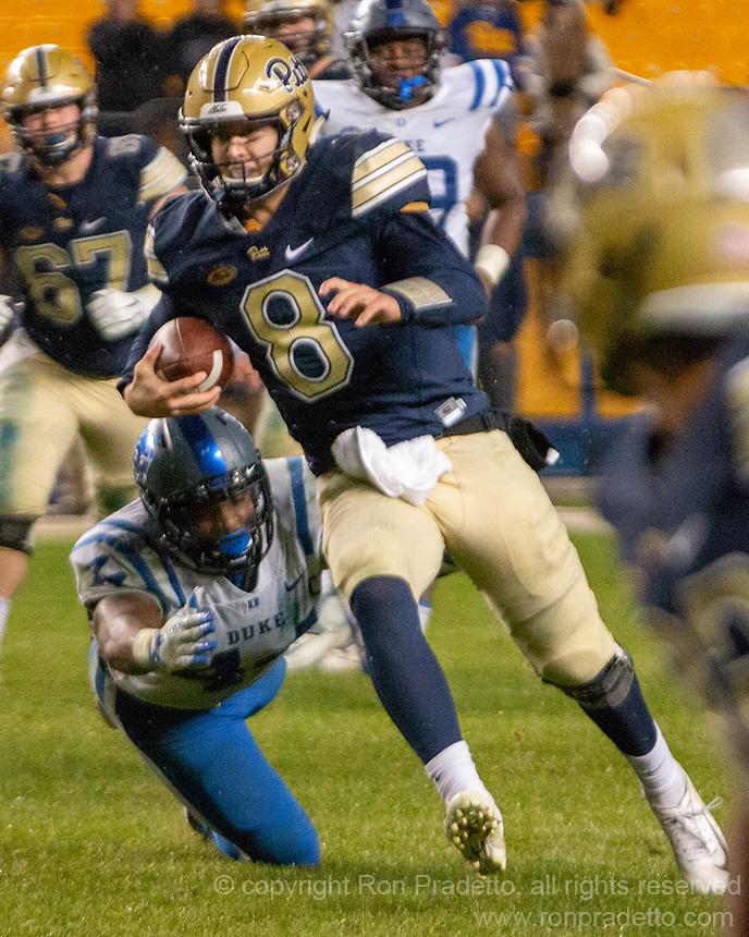 Pitt quarterback Kenny Pickett. The Pitt Panthers football team defeated the Duke Blue Devils 54-45 on November 10, 2018 at Heinz Field, Pittsburgh, Pennsylvania.