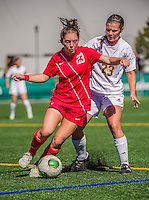 29 September 2013: Stony Brook University Seawolves Midfielder Tessa Devereaux, a Sophomore from Fayetteville, NY, in action against the University of Vermont Catamounts at Virtue Field in Burlington, Vermont. The Lady Seawolves defeated the Catamounts 2-1 in America East play. Mandatory Credit: Ed Wolfstein Photo *** RAW (NEF) Image File Available ***