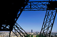 Cityscape and Tour Montparnasse as seen from the Eiffel Tower, Paris, France.