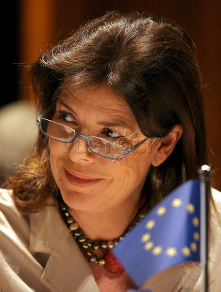 """epa00685111 Princess Caroline of Hanover attends the Grimaldi forum in Monaco in which the Council of Europe is launching a three year programme: """"Building A Europe for and with children"""" 04 April 2006. The objective of the programme is to help decision makers and all players concerned to implement general awareness-raising, information and prevention policies with an eye to the effective respect and promotion of children's rights in general and, in particular, of their right to protection against any form of violence.  EPA/ASM CORBIS OUT"""