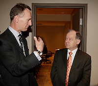 Montreal (QC) CANADA, March 16 to 19 2009 - Anthony Cary, UK High Commisionner in Montreal (L) talk with <br /> Raymond Bachand  QUEBEC Minister of Economic Development, Innovation and Export Tradespeak at Americana , March 17, 2009.