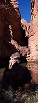 Touareg en train de remplir les gourdes d'eau dans une guelta. Au sud est de l'Algérie, le Tassili N'Ajjer est célèbre pour ses peintures et ses gravures rupestres.Des caravanes chamelières longent les montagnes de grès de l'oasis d'Ihérir à Djanet. Tassili N'Ajjer. Algérie.