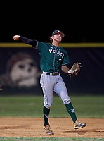 Venice Indians shortstop Marek Houston (5) throws to first base during a game against the Braden River Pirates on February 25, 2021 at Braden River High School in Bradenton, Florida.  (Mike Janes/Four Seam Images)