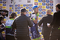 surprise race winner Matthew Hayman (AUS/Orica-GreenEDGE) is getting prepped for the podium ceremony by his team<br /> <br /> 114th Paris-Roubaix 2016