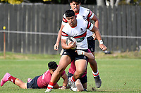 Maea Tema Schmidt of Scots College is tackled during the College 1st XV Rugby - Scots College v Kings College at Scots College, Wellington, New Zealand on Saturday 8 May 2021.<br /> Copyright photo: Masanori Udagawa /  www.photosport.nz