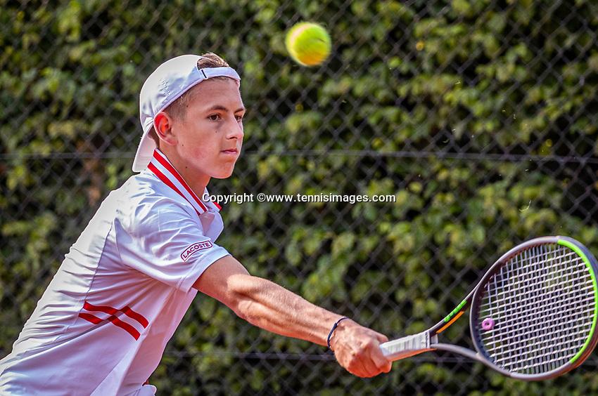 Hilversum, Netherlands, August 5, 2021, Tulip Tennis center, National Junior Tennis Championships 16 and 18 years, NJK, Boys single 16 years, James Pikkaart (NED)<br /> Photo: Tennisimages/Henk Koster