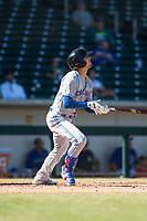 Surprise Saguaros designated hitter Cavan Biggio (26), of the Toronto Blue Jays organization, follows through on his swing during an Arizona Fall League game against the Mesa Solar Sox at Sloan Park on November 1, 2018 in Mesa, Arizona. Surprise defeated Mesa 5-4 . (Zachary Lucy/Four Seam Images)