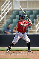 Evan Skoug (11) of the Kannapolis Intimidators at bat against the Greensboro Grasshoppers at Kannapolis Intimidators Stadium on August 5, 2018 in Kannapolis, North Carolina. The Grasshoppers defeated the Intimidators 2-1 in game one of a double-header.  (Brian Westerholt/Four Seam Images)