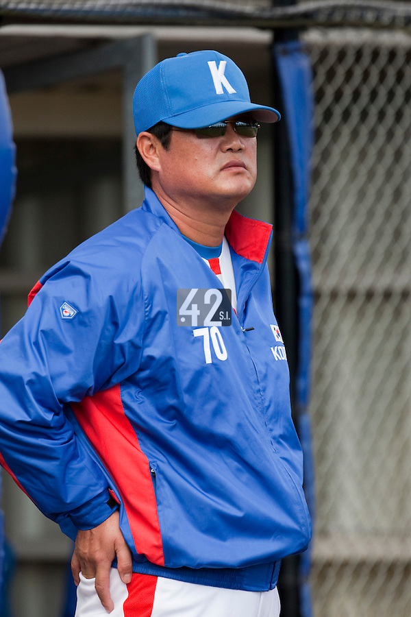 14 September 2009: Hak-Kil Yoon of South Korea is seen during the 2009 Baseball World Cup Group F second round match game won 15-5 by South Korea over Great Britain, in the Dutch city of Amsterdan, Netherlands.