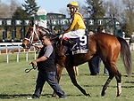 LEXINGTON, KY - APR 20: Valadorna (Brian J. Hernandez Jr.) wins the 24th running of the G3 Doubledogdare at Keeneland, Lexington, Kentucky. Owner Stonestreet Stables LLC (Barbara Banke), trainer Mark E. Casse. By Curlin x Goldfield, by Yes It's True. (Photo by Mary M. Meek/Eclipse Sportswire/Getty Images)