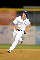 Dunedin Blue Jays outfielder Marcus Knecht #4 runs the bases during a game against the Clearwater Threshers at Florida Auto Exchange Stadium on April 4, 2013 in Dunedin, Florida.  Dunedin defeated Clearwater 4-2.  (Mike Janes/Four Seam Images)