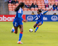 HOUSTON, TX - JANUARY 31: Dany Etienne #8 of Haiti crosses the ball during a game between Haiti and Costa Rica at BBVA Stadium on January 31, 2020 in Houston, Texas.