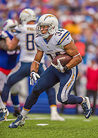 21 September 2014: San Diego Chargers running back Donald Brown gets a first down against the Buffalo Bills during the second quarter at Ralph Wilson Stadium in Orchard Park, NY. The Chargers defeated the Bills 22-10 in AFC play. Mandatory Credit: Ed Wolfstein Photo *** RAW (NEF) Image File Available ***