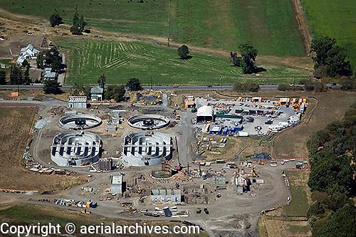 aerial photograph construction Ellis Creek wastewater treatment plant, Petaluma, Sonoma county, California
