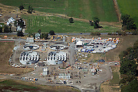 aerial photograph construction Ellis Creek wastewater treatment plant, Petaluma, Sonoma county, California