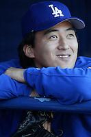 Kazuhisa Ishii of the Los Angeles Dodgers before a 2002 MLB season game at Dodger Stadium, in Los Angeles, California. (Larry Goren/Four Seam Images)