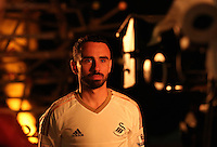 Pictured: Leon Britton 01 April 2015<br /> Re: Behind the scenes at the Swansea City FC kit launch video shoot at Bay Studios.