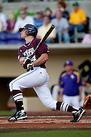 Mississippi State outfielder Hunter Renfroe #34 at bat against the LSU Tigers during the NCAA baseball game on March 17, 2012 at Alex Box Stadium in Baton Rouge, Louisiana. The 10th-ranked LSU Tigers beat #21 Mississippi State, 4-3. (Andrew Woolley / Four Seam Images).