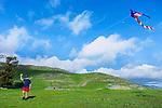 Evan flying a kite on the ranch, San Luis Obispo, California