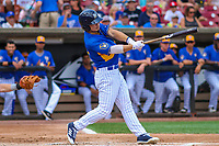 Wisconsin Timber Rattlers designated hitter Keston Hiura (15) swings at a pitch during a Midwest League game against the Cedar Rapids Kernels on August 6, 2017 at Fox Cities Stadium in Appleton, Wisconsin.  Cedar Rapids defeated Wisconsin 4-0. (Brad Krause/Four Seam Images)