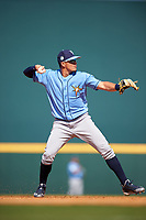 Tampa Bay Rays shortstop Willy Adames (27) throws to first base during a Spring Training game against the Pittsburgh Pirates on March 10, 2017 at LECOM Park in Bradenton, Florida.  Pittsburgh defeated New York 4-1.  (Mike Janes/Four Seam Images)