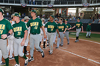 Siena Saints Eddie Sweeney (20), Arlo Marynczak (49), Scottie O'Bryan (19), John Wheeler (33), James Flood (22), and Dylan D'Anna (30) after a game against the UCF Knights on February 17, 2019 at John Euliano Park in Orlando, Florida.  UCF defeated Siena 7-1.  (Mike Janes/Four Seam Images)