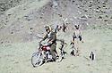 Iraq 1981<br /> Tahsin Dolamari, speaker at Voice of Kurdistan, taking on his motorbike Failak Eddin Kakai on their way to the radio to give the last news of the politburo of KDP<br /> Irak 1981<br /> Tahsin Dolamari de Voice of Kurdistan, en route vers la radio avec  Failak Eddin Kakai pour donner les dernieres nouvelles du Politburo du PDK