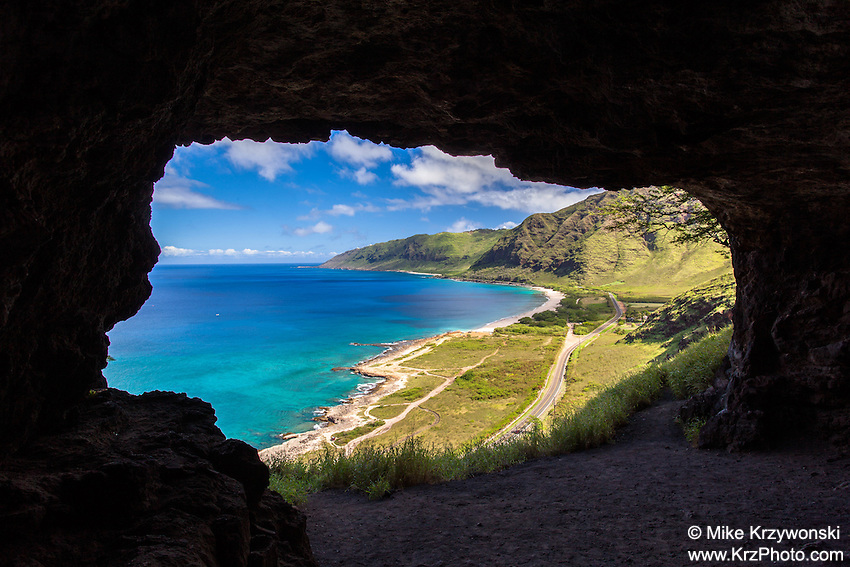 Aerial view of west Oahu from the inside of upper Makua Cave