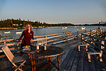 Dinner on the dock of our rental home in Old Harbor