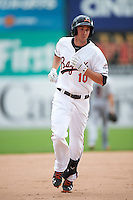 Bowie Baysox center fielder Glynn Davis (10) runs the bases after hitting a grand slam home run during the second game of a doubleheader against the Akron RubberDucks on June 5, 2016 at Prince George's Stadium in Bowie, Maryland.  Bowie defeated Akron 12-7.  (Mike Janes/Four Seam Images)
