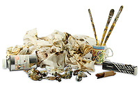 BNPS.co.uk (01202 558833)<br /> Pic: ChiswickAuctions/BNPS<br /> <br /> Pictured: The painting materials Freud  left behind<br /> <br /> An abandoned drawing of a horse by Lucian Freud together with painting materials he also left behind have sold at auction for £80,000.<br />  <br /> The celebrated British artist gave up on his study of the horse called Goldie halfway through as he decided he didn't like her personality.<br /> <br /> He left the unfinished work at the Wormwood Scrubs Pony Centre in west London along with his easel, palette and paint brushes. <br /> <br /> The items have now sold at Chiswick Auctions.