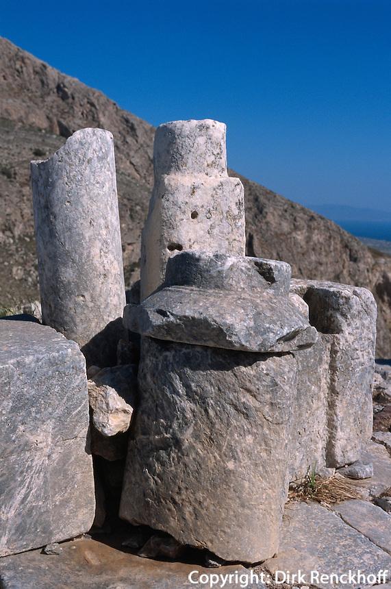 dorische Siedlung Alt Thera (9.Jh.v:Chr.). Kapelle Agios Stephanos auf der Insel Santorin (Santorini), Griechenland, Europa