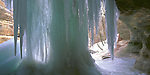 Starved Rock State Park, IL<br /> Frozen waterfall hanging from the sandstone cliffs of LaSalle canyon