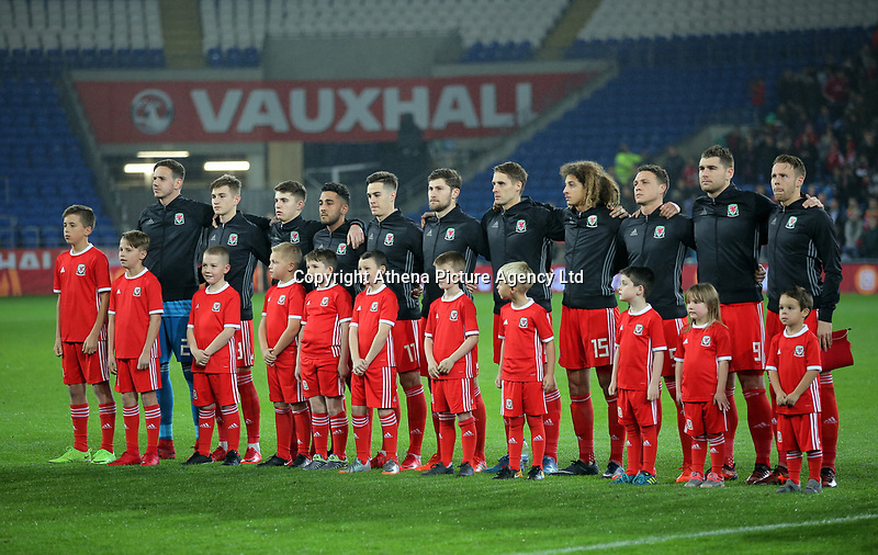 Wales players sstand for their national anthem during the international friendly soccer match between Wales and Panama at Cardiff City Stadium, Cardiff, Wales, UK. Tuesday 14 November 2017.