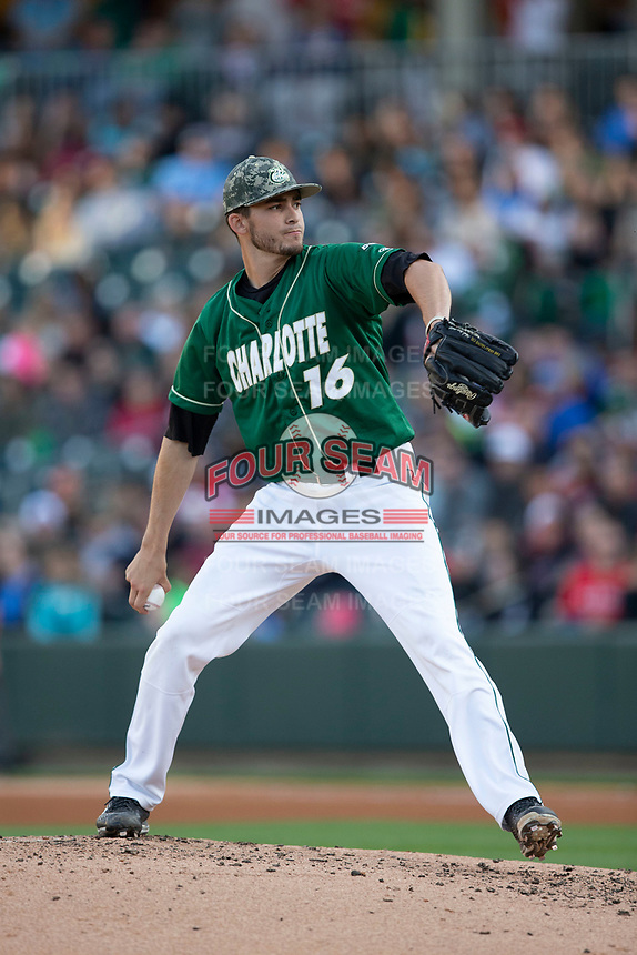 Charlotte 49ers relief pitcher Brandon Vogler (16) in action against the North Carolina State Wolfpack at BB&T Ballpark on March 29, 2016 in Charlotte, North Carolina. The Wolfpack defeated the 49ers 7-1.  (Brian Westerholt/Four Seam Images)