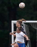 Boston Breakers forward Amanda DaCosta (5) and New York Fury defender Nikki Krzysik (15) battle for head ball. In a Women's Premier Soccer League Elite (WPSL) match, the Boston Breakers defeated New York Fury, 2-0, at Dilboy Stadium on June 23, 2012.