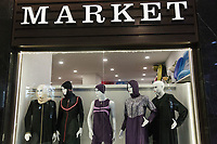 Modest Muslim swimming costumes called burkinis on sale in a shop at the Wome Deluxe hotel near Alanya.