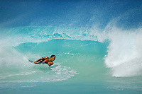 Large barreling wave, bodyboarder, Kekaha Kai park, Kua bay, Kailua Kona, The Big Island of Hawaii