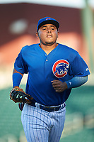 AZL Cubs 1 first baseman Ervis Marchan (21) jogs off the field between innings of an Arizona League game against the AZL Padres 1 on July 5, 2019 at Sloan Park in Mesa, Arizona. The AZL Cubs 1 defeated the AZL Padres 1 9-3. (Zachary Lucy/Four Seam Images)