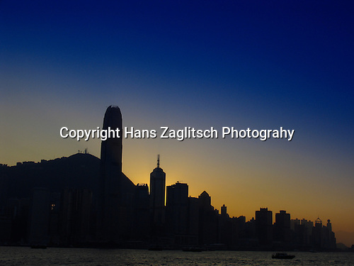 Skyline of Hongkongs Central District at  twilight.