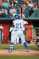 Austin Filiere (21) of the South Bend Cubs at bat against the Lansing Lugnuts at Cooley Law School Stadium on June 15, 2018 in Lansing, Michigan. The Lugnuts defeated the Cubs 6-4.  (Brian Westerholt/Four Seam Images)