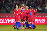 CARSON, CA - FEBRUARY 7: Samantha Mewis #3 of the United States celebrates scoring with teammates during a game between Mexico and USWNT at Dignity Health Sports Park on February 7, 2020 in Carson, California.