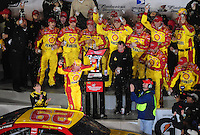 Feb 07, 2009; Daytona Beach, FL, USA; NASCAR Sprint Cup Series driver Kevin Harvick celebrates after winning the Bud Shootout at Daytona International Speedway. Mandatory Credit: Mark J. Rebilas-