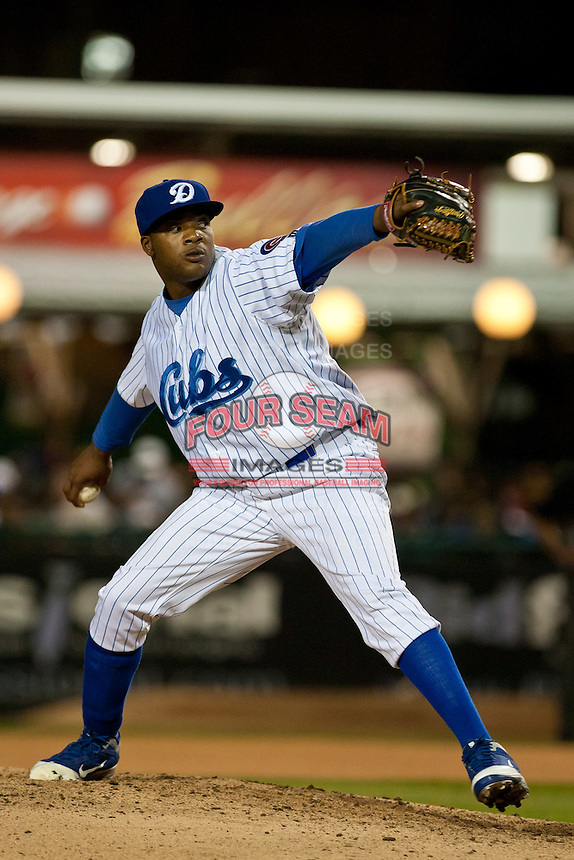 Pitcher Ty'Relle Harris #99 of the Daytona Cubs during a game against the Brevard County Manatees at Jackie Robinson Ballpark on April 6, 2012 in Daytona Beach, Florida. (Scott Jontes / Four Seam Images)