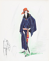 BNPS.co.uk (01202 558833)<br /> Pic: AuctionHub/BNPS<br /> <br /> Pictured: Spring 1923.<br /> <br /> A collection of fashion illustrations owned by Cecil Beaton have emerged for sale for £20,000.<br /> <br /> The drawings were given to the current seller, who has not been identified, by society and fashion photographer and costume designer Beaton as a thank you gift.<br /> <br /> Totalling over 500 designs from the 1920s and 30s, the illustrations have now been put up for auction with The Auction Hub, based in Westbury, Wiltshire.<br /> <br /> Cecil Beaton was an influential photographer, working for Vogue and Vanity Fair, as a war photographer, and taking society portraits of the Royal family and a host of celebrities.