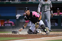 Charlotte Knights catcher Nate Nolan (28) on defense against the Gwinnett Stripers at Truist Field on July 17, 2021 in Charlotte, North Carolina. (Brian Westerholt/Four Seam Images)