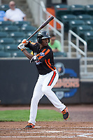 Jaylen Ferguson (18) of the Aberdeen IronBirds at bat against the Hudson Valley Renegades at Leidos Field at Ripken Stadium on July 27, 2017 in Aberdeen, Maryland.  The Renegades defeated the IronBirds 2-0 in game one of a double-header.  (Brian Westerholt/Four Seam Images)