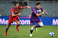 Fabian Ruiz of SSC Napoli and Dusan Vlahovic of ACF Fiorentina compete for the ball during the Serie A 2021/2022 football match between ACF Fiorentina and SSC Napoli at Artemio Franchi stadium in Florence (Italy), October 3rd, 2021. Photo Andrea Staccioli / Insidefoto