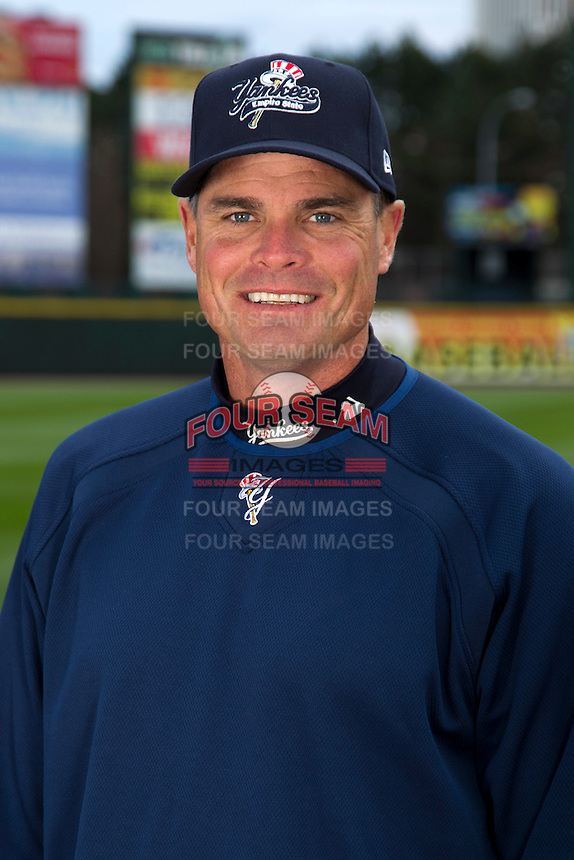 Scranton Wilkes-Barre Yankees pitching coach Scott Aldred #57 poses for a photo during media day at Frontier Field on April 3, 2012 in Rochester, New York.  (Mike Janes/Four Seam Images)