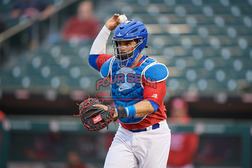 Buffalo Bisons catcher Michael De La Cruz (55) in a run down during an International League game against the Scranton/Wilkes-Barre RailRiders on June 5, 2019 at Sahlen Field in Buffalo, New York.  Scranton defeated Buffalo 4-0, the second game of a doubleheader. (Mike Janes/Four Seam Images)